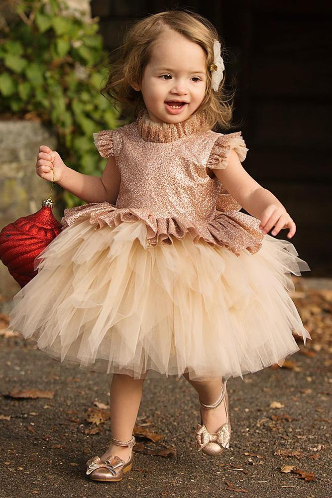 tutu flower girl dresses ruffled skirt ivory itty bitty toes