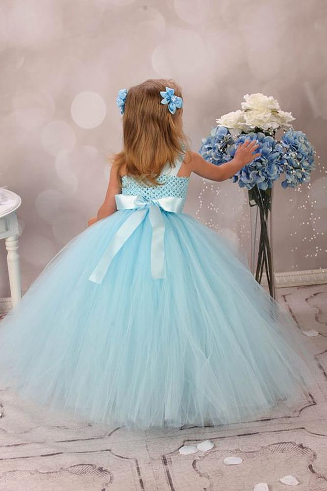 tutu flower girl dresses tulle skirt blue with bow couture linie kleider