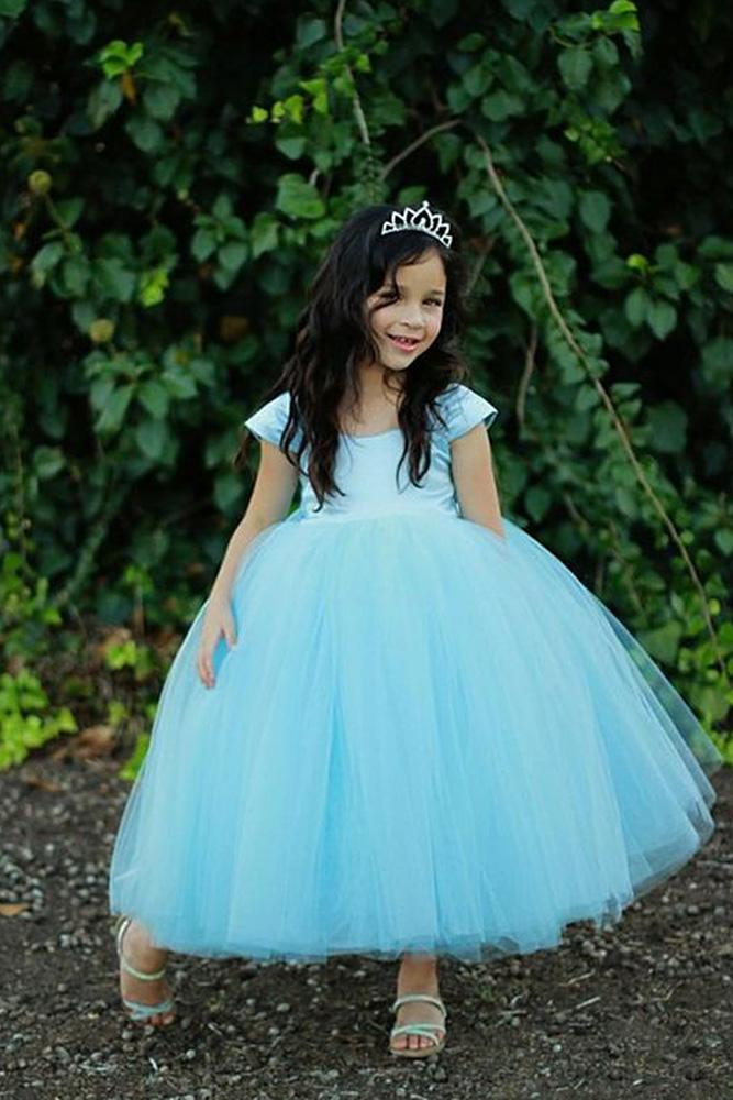 tutu flower girl dresses with cap sleeves blue june bridals