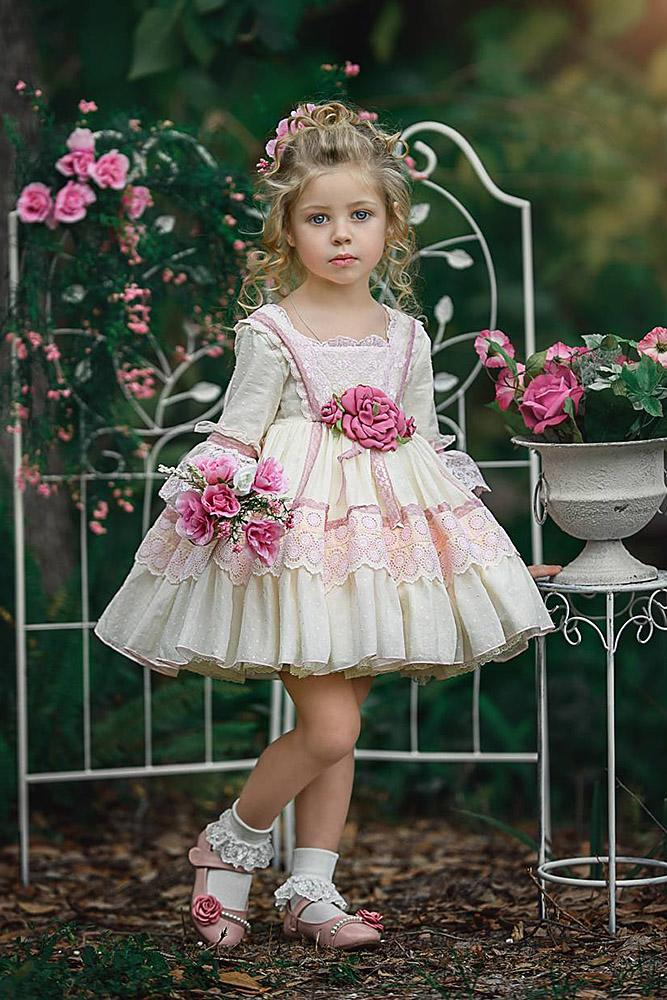 tutu flower girl dresses with long sleeves rustic lace irinkac33