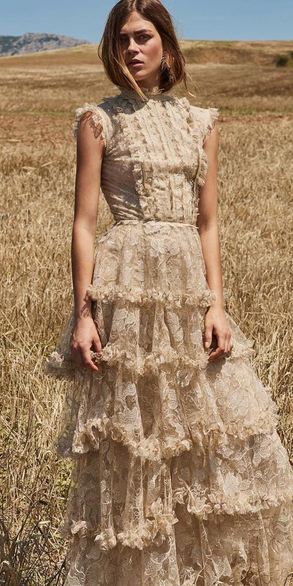 wedding guest designer dresses long with cap sleeves high neck blush ruffled skirt christos costarello