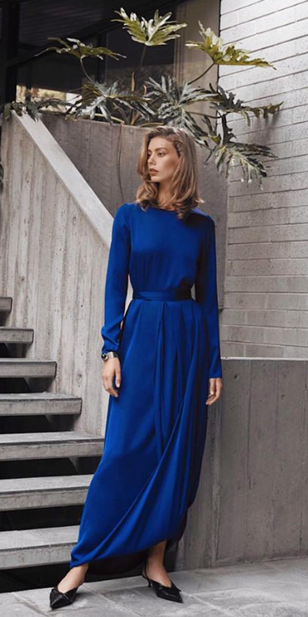 wedding guest designer dresses long with sleeves blue simple carl kapp