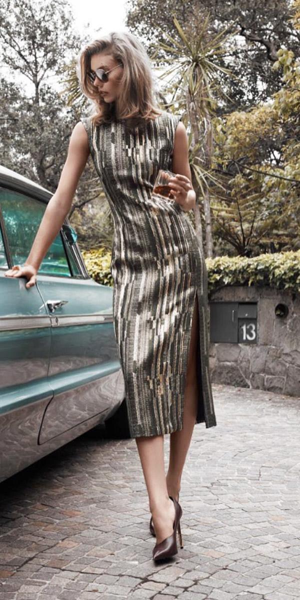 wedding guest designer dresses sleeveless with slit carl kapp