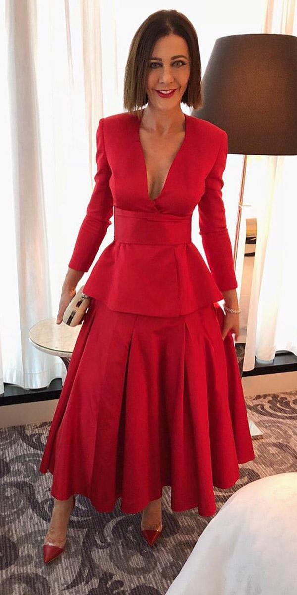 wedding guest designer dresses with long sleeves v neckline red carl kapp