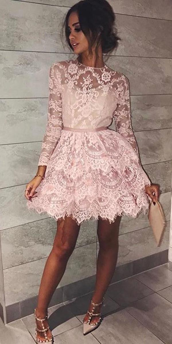 wedding party dresses short with long sleeves lace pink sherri hill