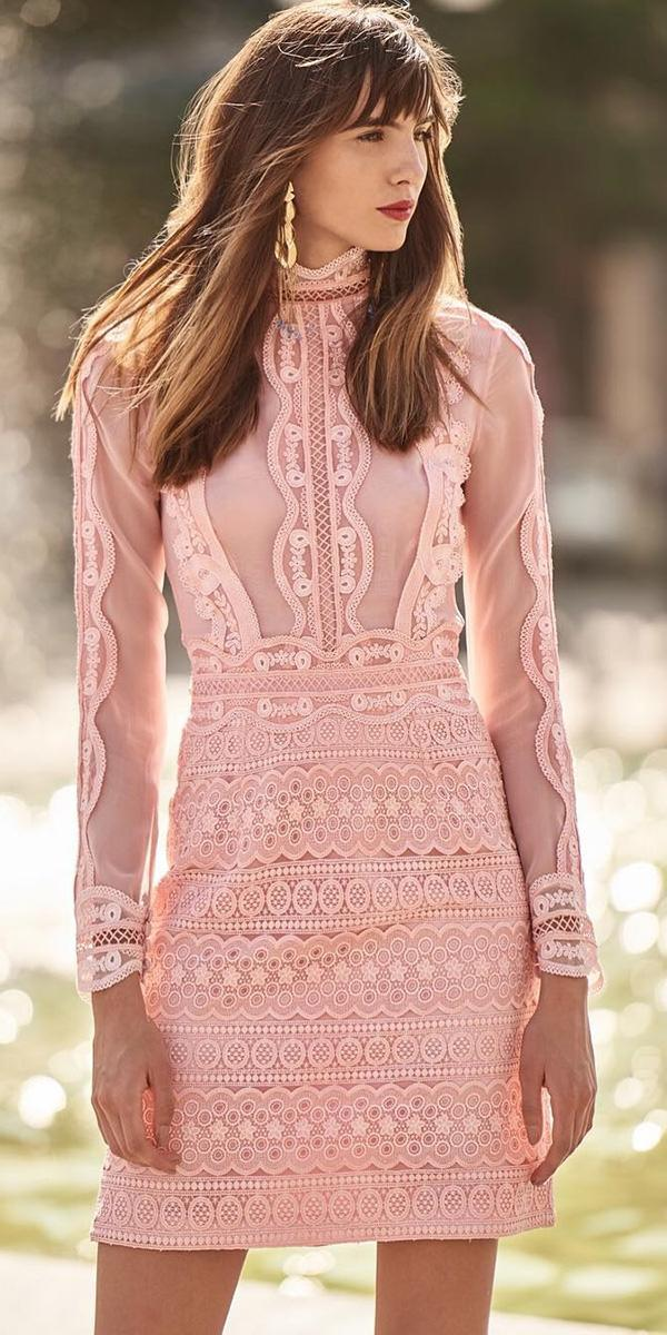 wedding party dresses short with long sleeves pink lace christos costarellos