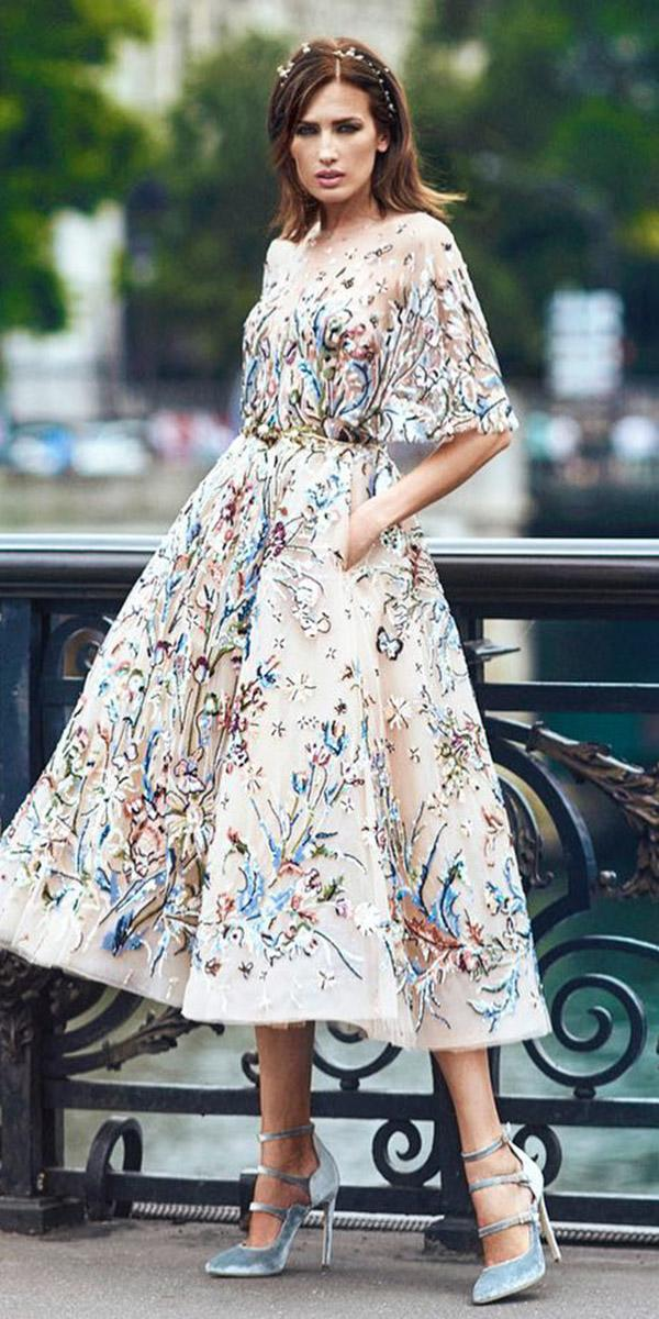 wedding party dresses tea length with floral spring summer zuhair murad official