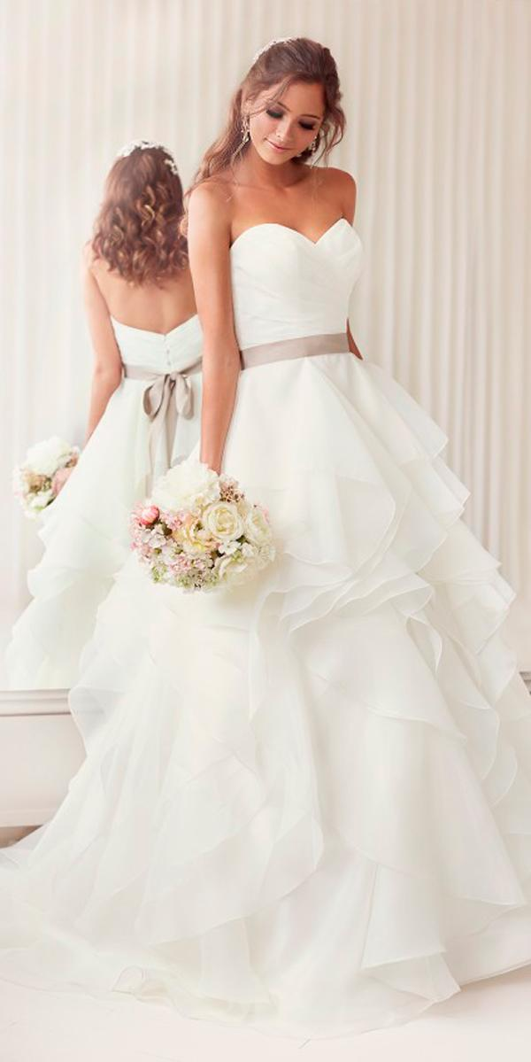 a line country camo wedding dresses strapless sweetheart neckline with layered skirt and ribbon essense of australia