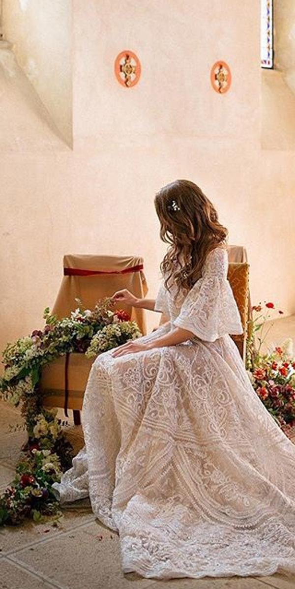 a line lace romantic boho wedding dresses with sleeves jayeavery
