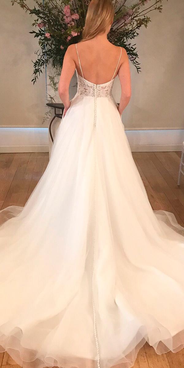 a line open back lace spaghetti straps princess wedding dresses kelly faetanini