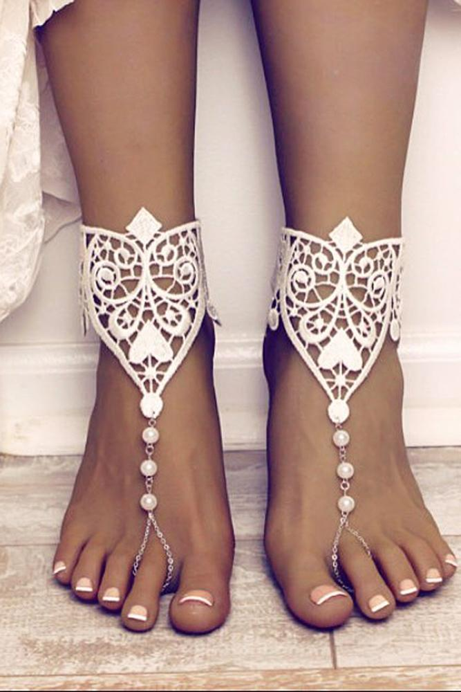 beach wedding shoes barefoot full lace boho bare sandals