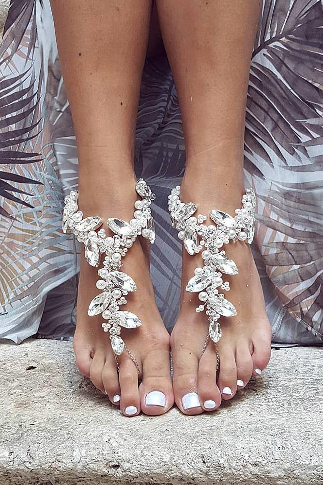 beach wedding shoes barefoot sparkle bridesmaid be nelipots