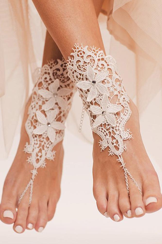 beach wedding shoes lace barefoot for bride bare sandals