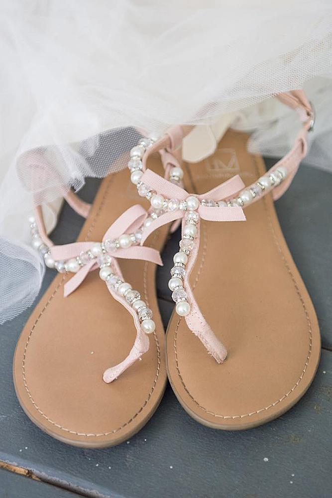 beach wedding shoes sandals with pearl casablanca bridal
