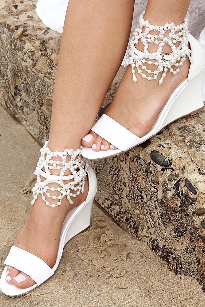 beach wedding shoes wedge with pearls forever soles
