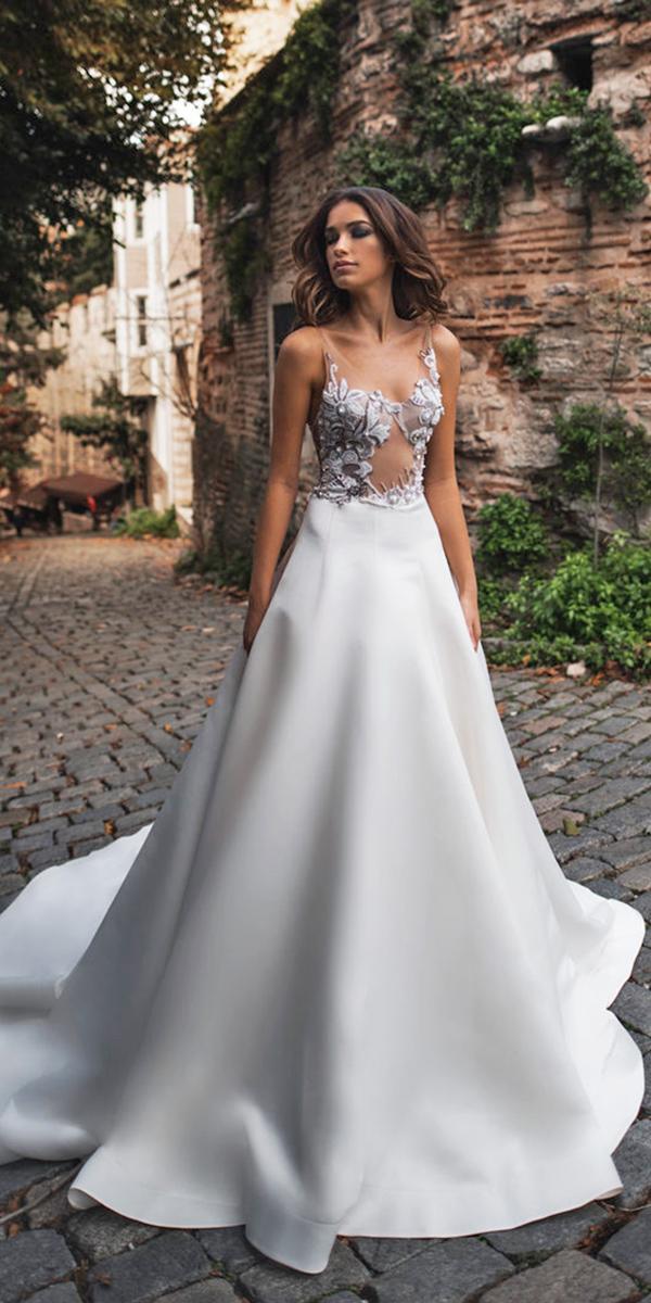 blammo biamo wedding dresses a line illusion necklne floral embroidered 2018