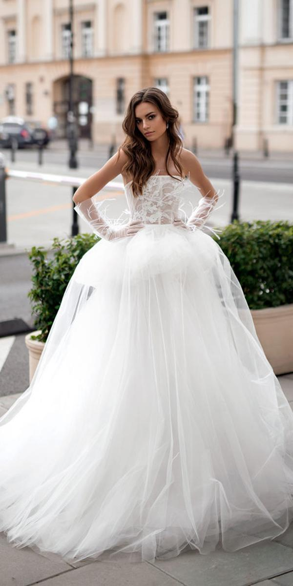 blammo biamo wedding dresses ball gown straight across top with feathers elegant 2018