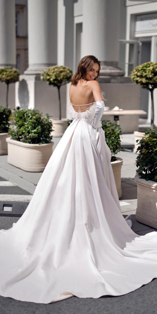 blammo biamo wedding dresses ball gown with feathers elegant simple