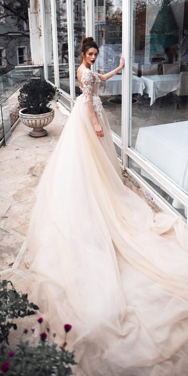blammo biamo wedding dresses ball gown with illusion long sleeves ivory 2018