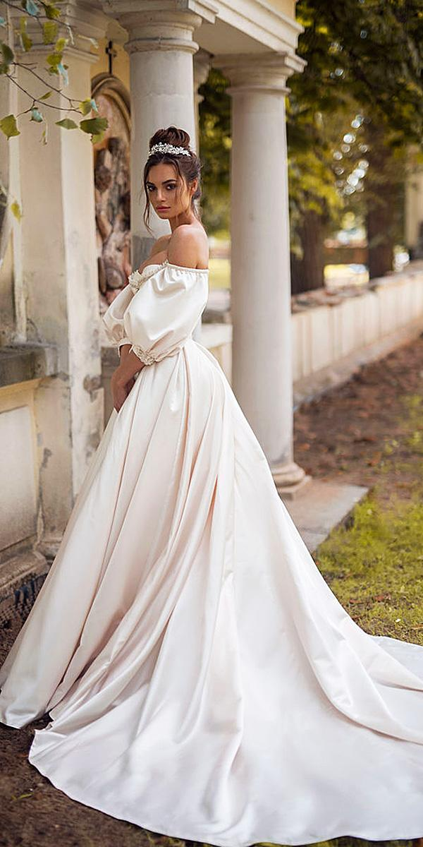 blammo biamo wedding dresses ball gown with puff sleeves simple 2018