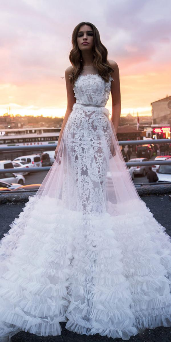 blammo biamo wedding dresses sheath with rufled skirt lace 2018 popular