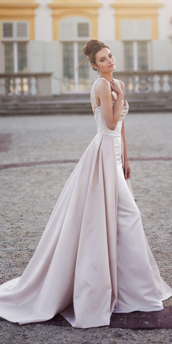blammo biamo wedding dresses sheath with straps overskirt 2018