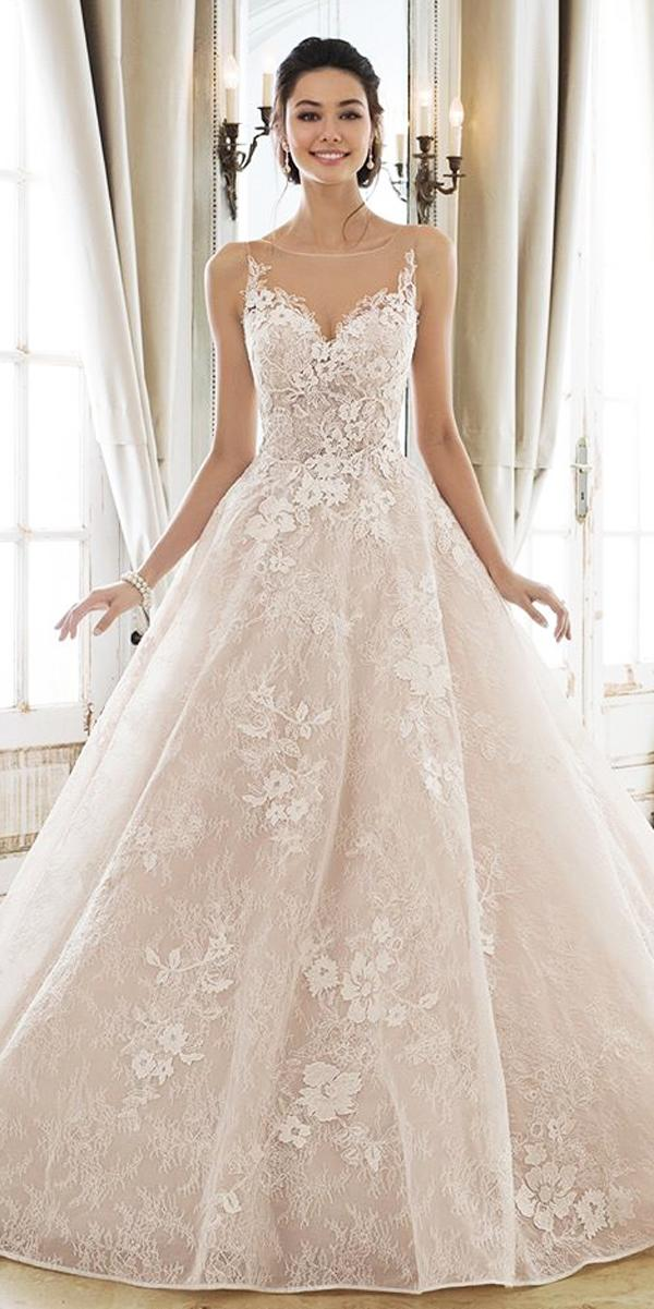 blush a line lace sweetheart neck with straps princess wedding dresses sophia tolli