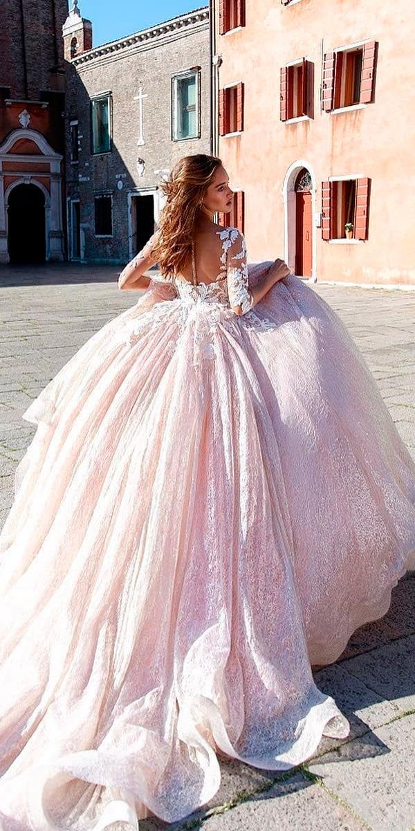 blush ball gown lace long sleeves illusion backless princess wedding dresses ricca sposa