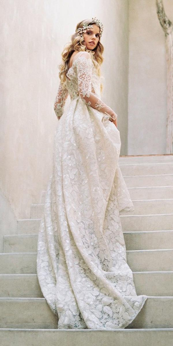 boho wedding dresses with sleeves a line hippie lace backless claire pettibone