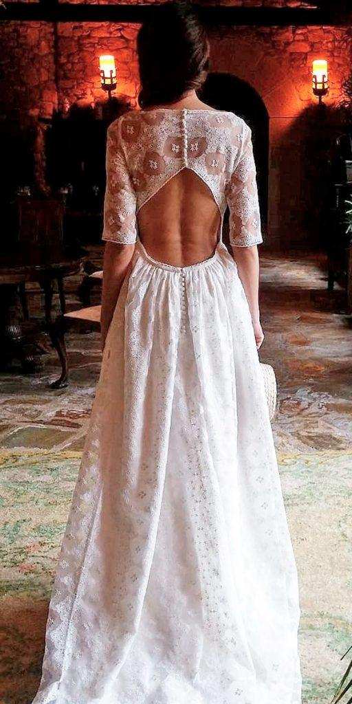 boho wedding dresses with sleeves a line open back lace parederoquiros