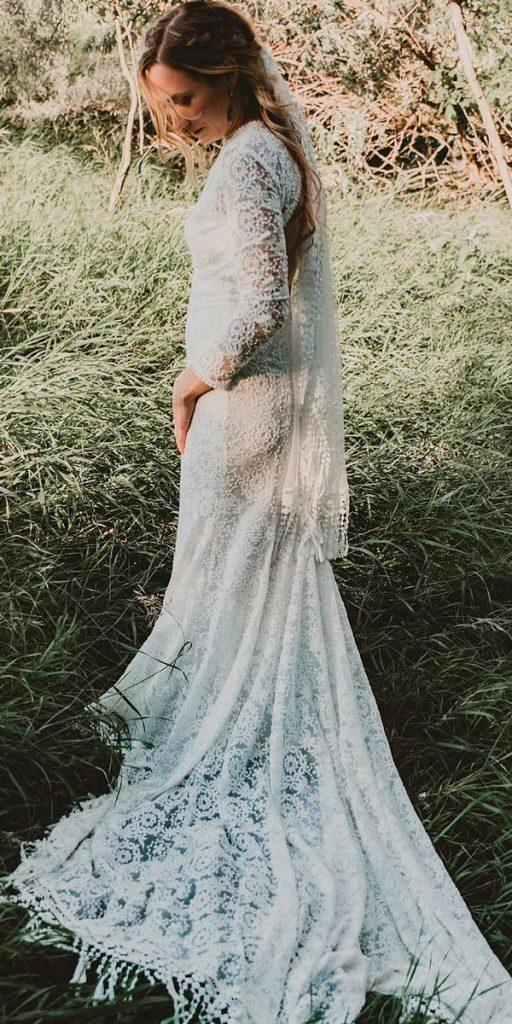 boho wedding dresses with sleeves fit and flare open back lace with train dreamers and lovers