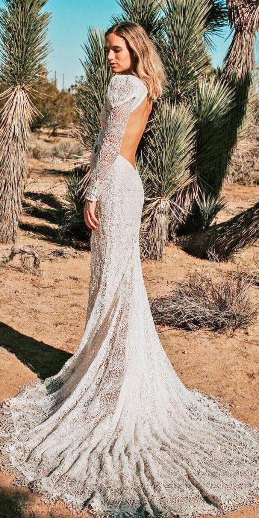 boho wedding dresses with sleeves mermaid lace low back daughters of simone