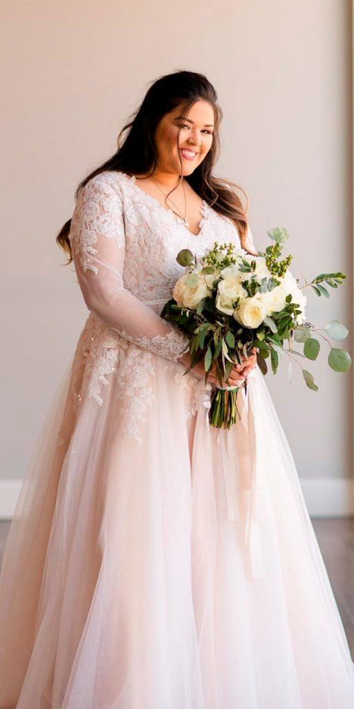 boho wedding dresses with sleeves plus size ball gown blush v neckline coco melody official