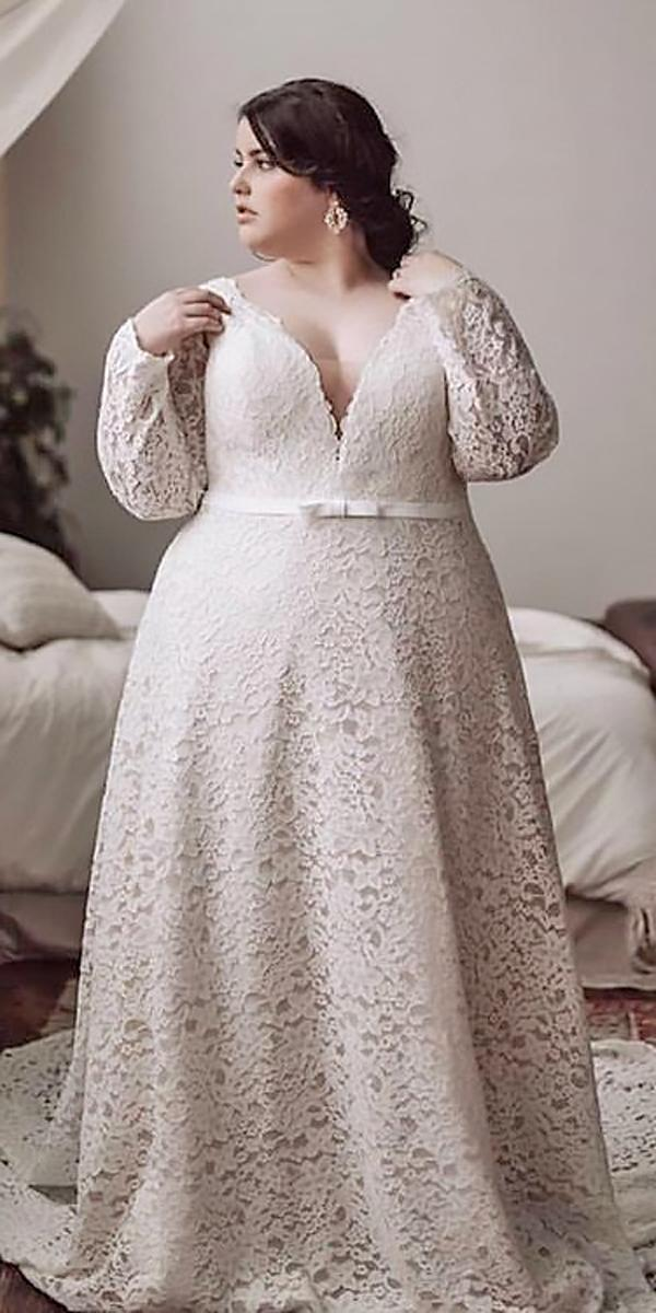 boho wedding dresses with sleeves plus size lace deep v neckline with belt cheyennegi