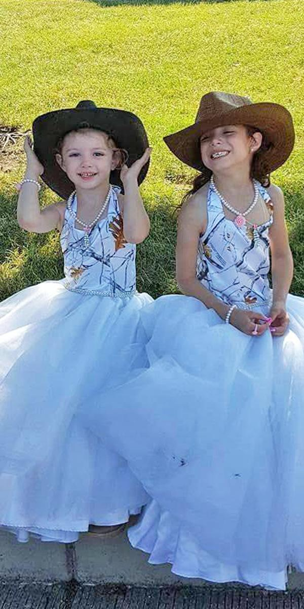 country camo flower girl wedding dresses ball gown white with caps camo formal