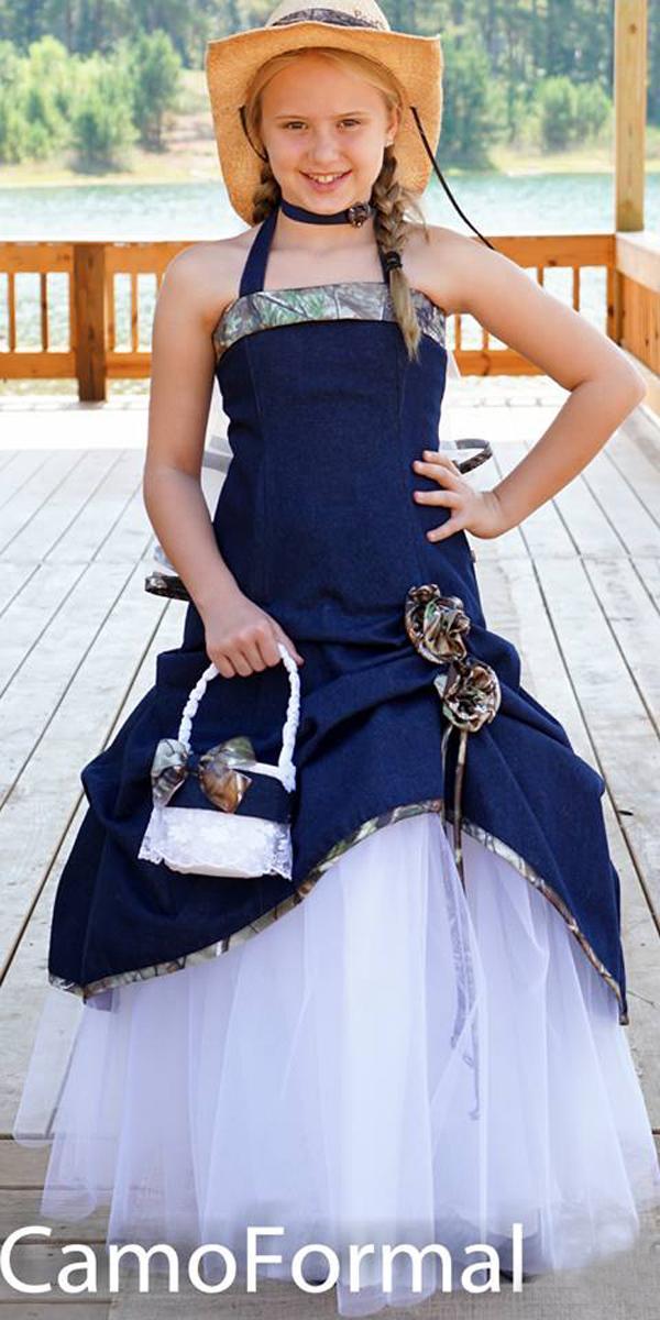 country camo flower girl wedding dresses blue strapless neckline camo formal