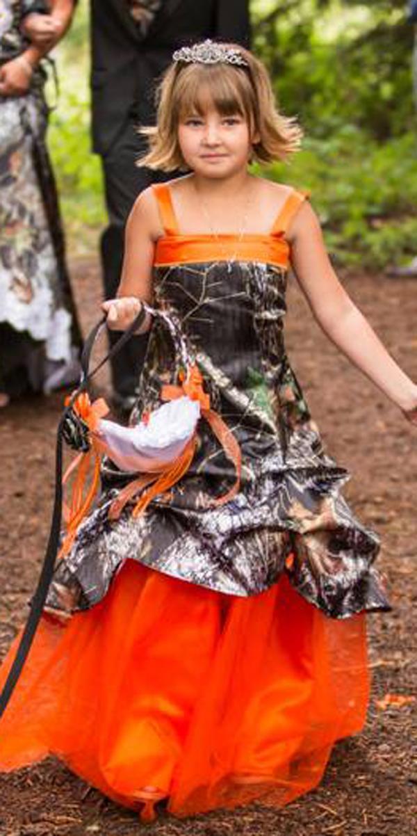 country camo flower girl wedding dresses with orange spaghetti straps a line camo formal