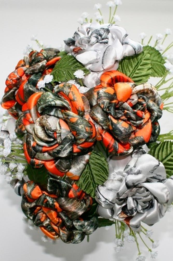 country camo wedding bouquets orange elements roses camo treasures