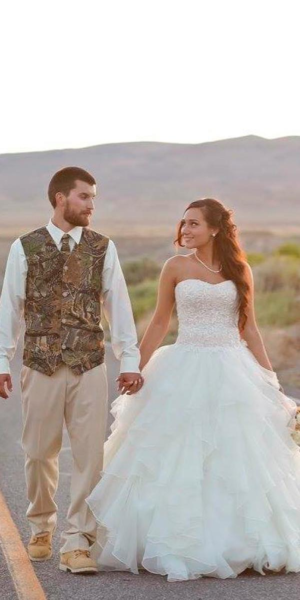 country camo wedding dresses ball gown layered skirt strapless sweetheart neck tiffanygreen