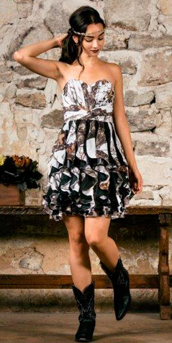 country camo wedding dresses short strapless sweetheart neck with layered skirt carrafina