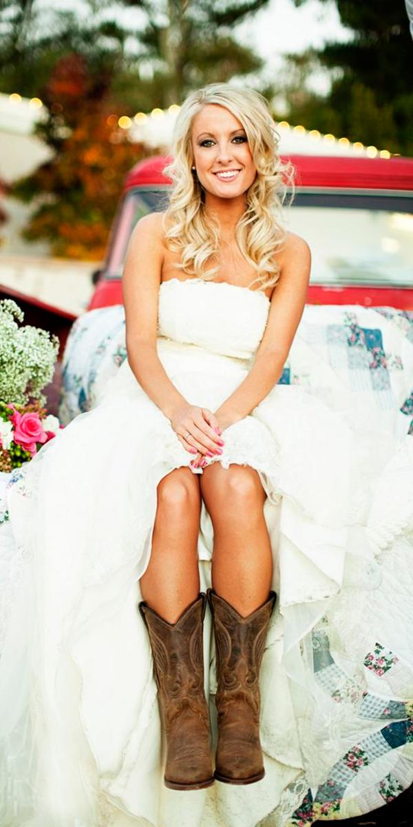 country camo wedding dresses with boots strapless neckline simple chard photo