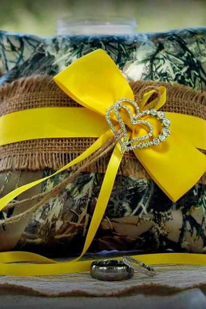 country camo wedding treasures yellow ring pillow shannon