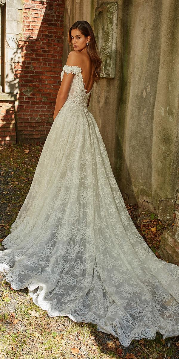eve of milady wedding dresses a line off the shoulder lace with floral