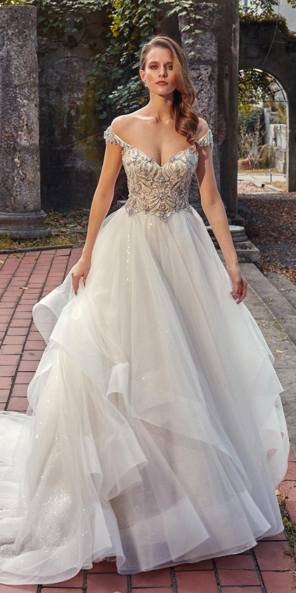 Eve of milady wedding dresses a line off the shoulder for Top of the line wedding dresses