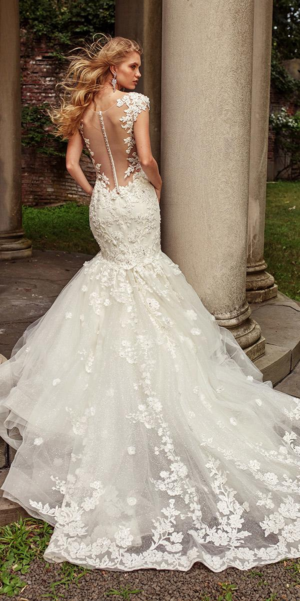 eve of milady wedding dresses fit and flare illusion back with buttons lace ivory