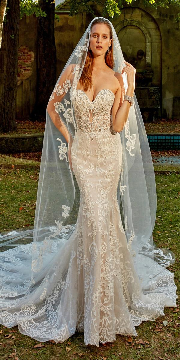 eve of milady wedding dresses fit and flare strapless sweetheart full lace embroidered
