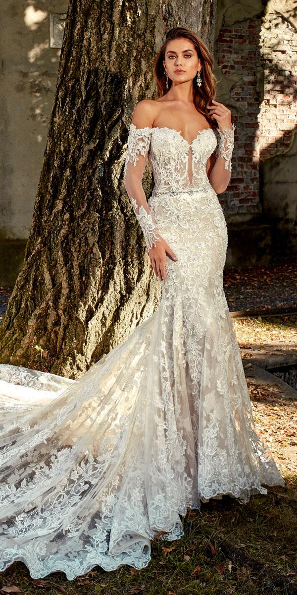 eve of milady wedding dresses fit and flare strapless sweetheart with long sleeves