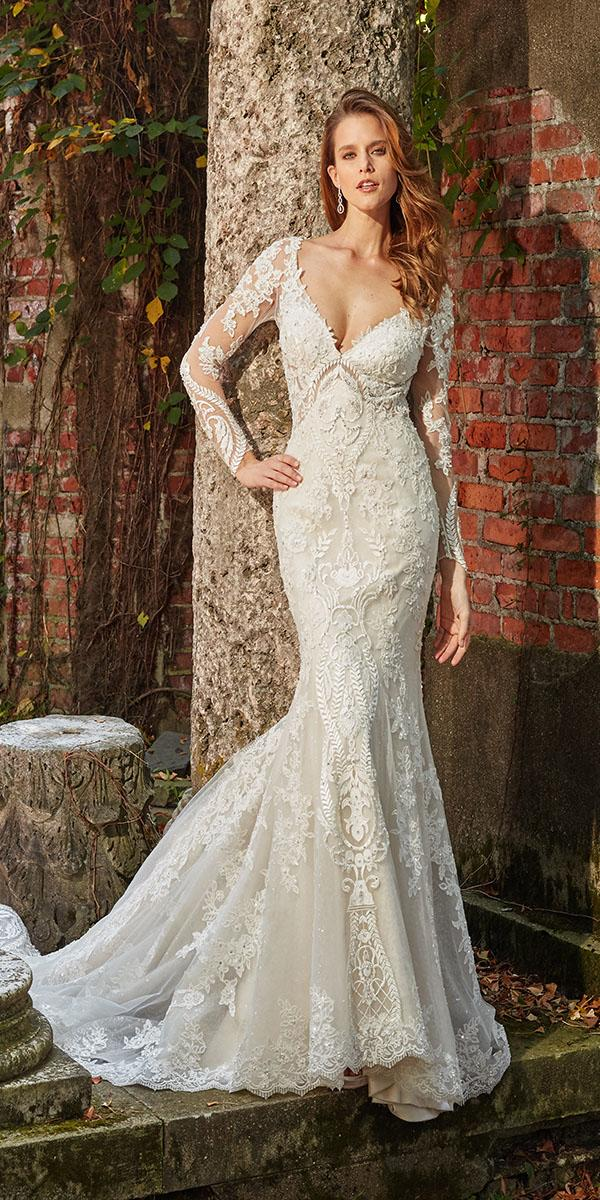 eve of milady wedding dresses fit and flare with long sleeves v neckline lace ivory