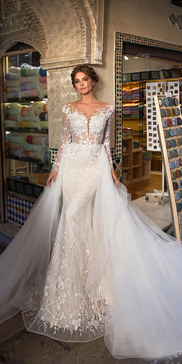 giovanna alessandro wedding dresses sheath with overskirt long sleeves full floral embellishment