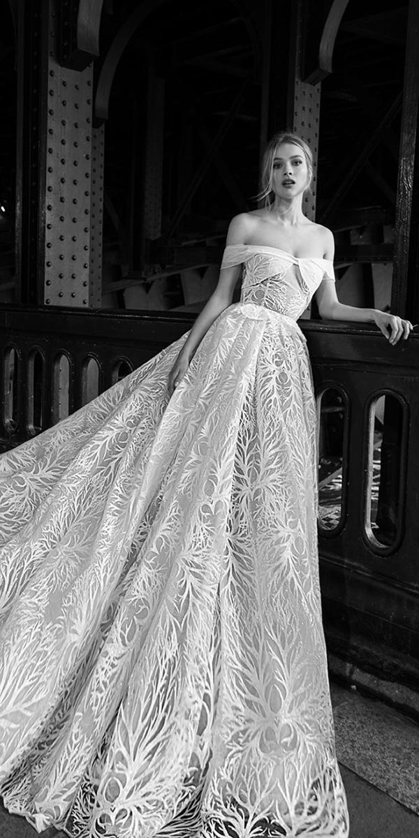 inbal dror wedding dresses ball gown off the shoulder floral embellishment